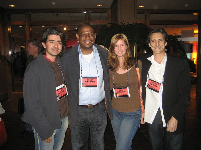 Pierre Omidyar, Forest Whitaker, Pam Omidyar, and Lawrence Bender.