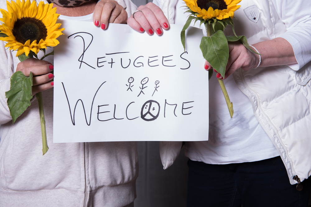 """Sign reads """"Refugees are welcome"""""""