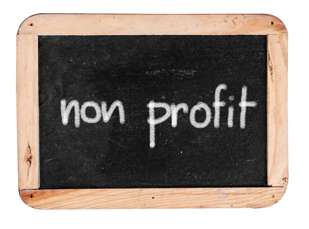 """chalkboard with text: """"non profit"""""""