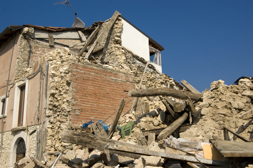 A photo of a collapsed building.