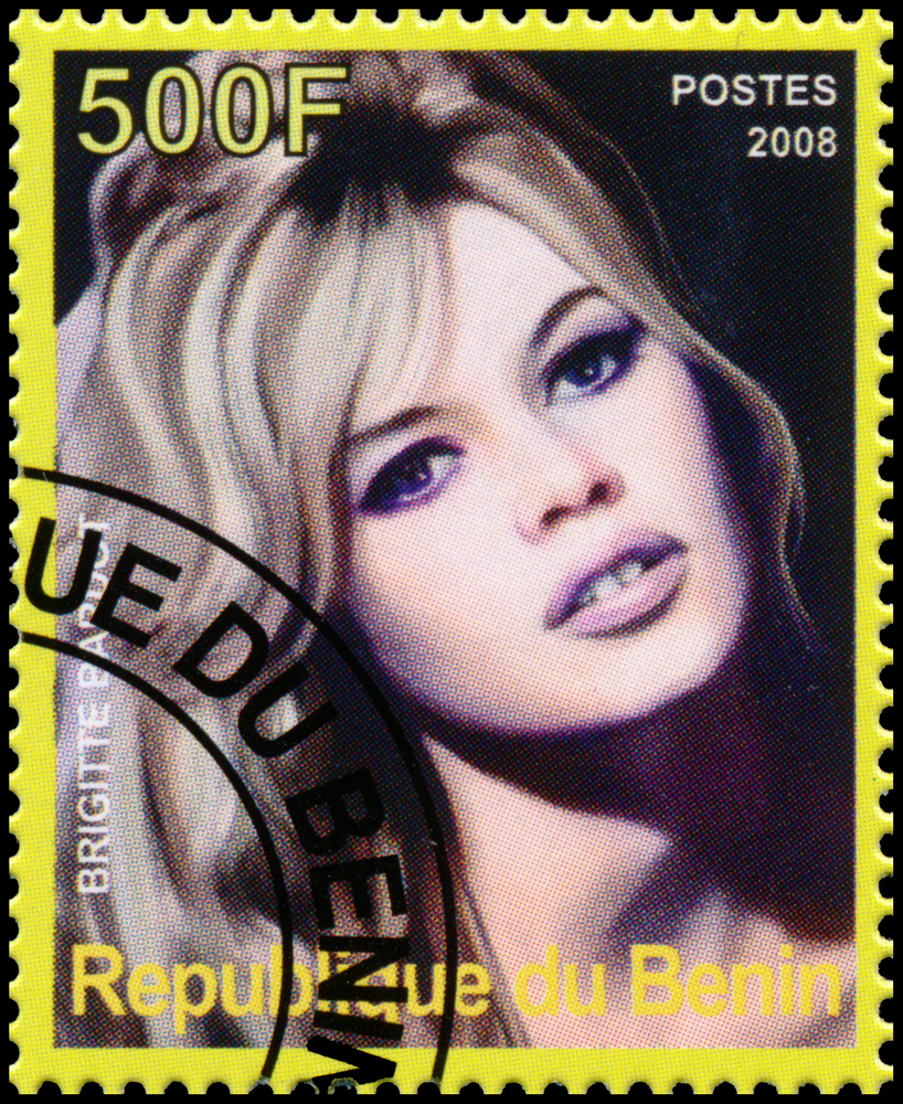 A postage stamp with a picture of Brigitte Bardot on it.