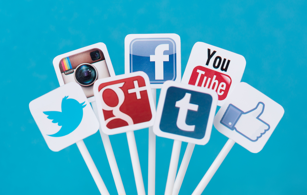 An image of various social media website icons.