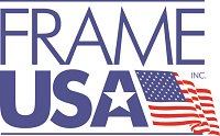 Frame USA's logo which features an American flag alongside their company name.