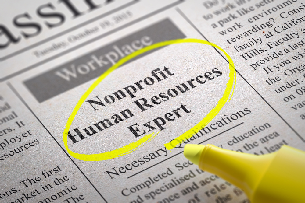 A newspaper job advertisement for a nonprofit human resources expert.