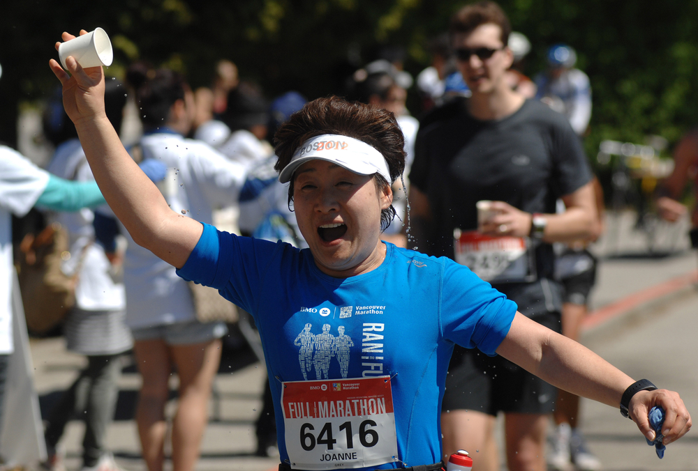 A photo of runners at the 44th annual BMO Vancouver Marathon.