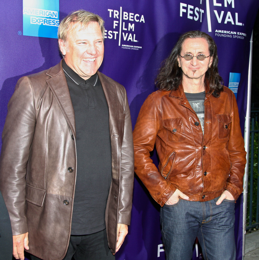 A photo of Rush band members Alex Lifeson and Geddy Lee.