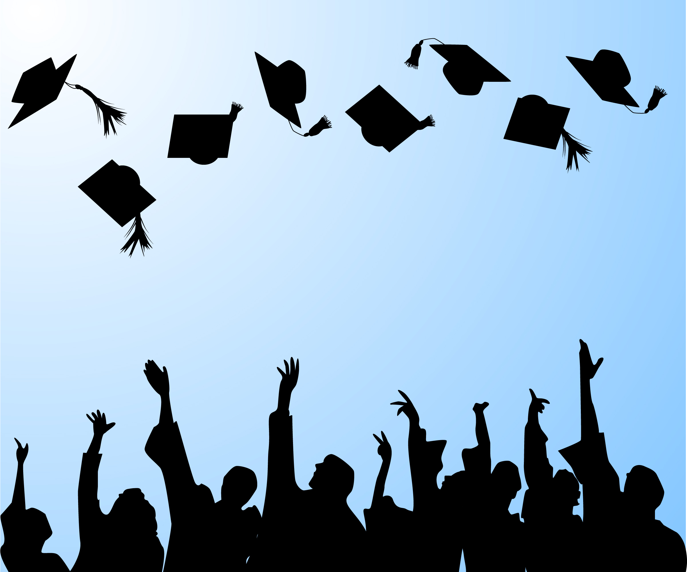 An animated image of college grads throwing their caps in the air.