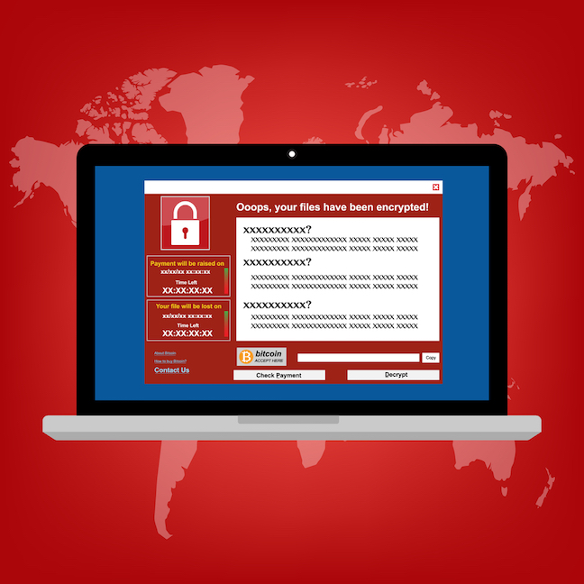 An illustration of a laptop with ransomware on it.