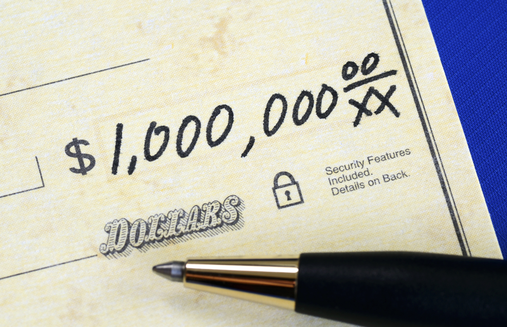 A check written for the amount of one million dollars.