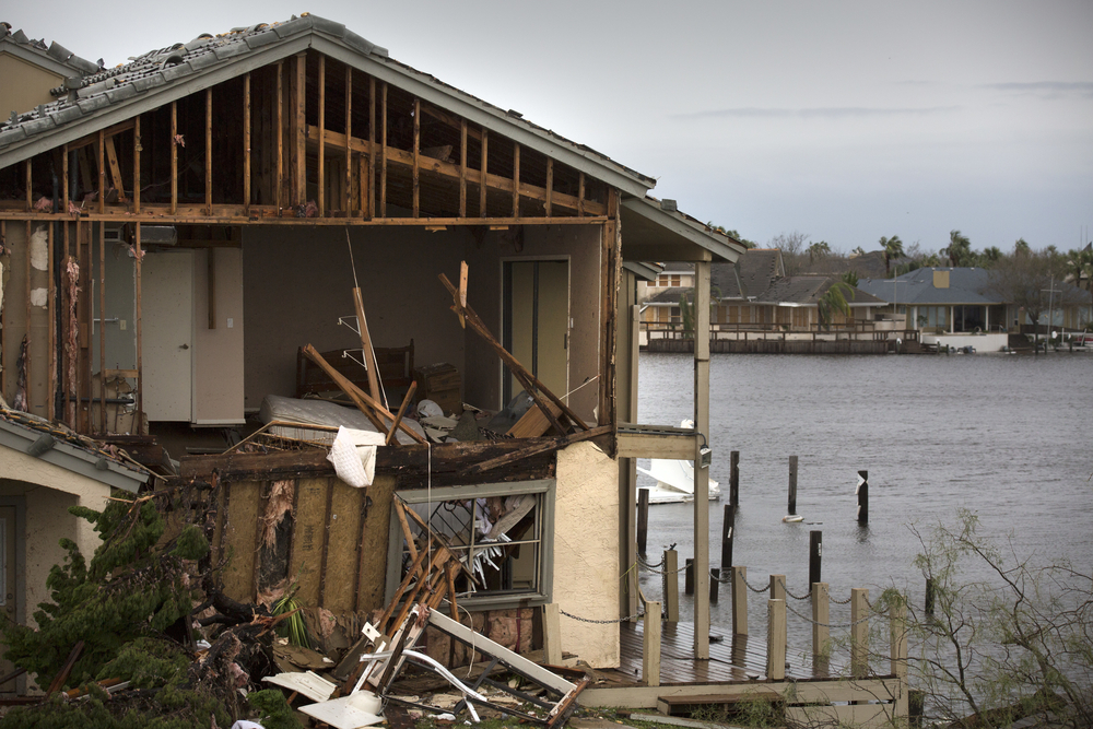 A home severely damaged by Hurricane Harvey. Photo taken in Rockport, TX.