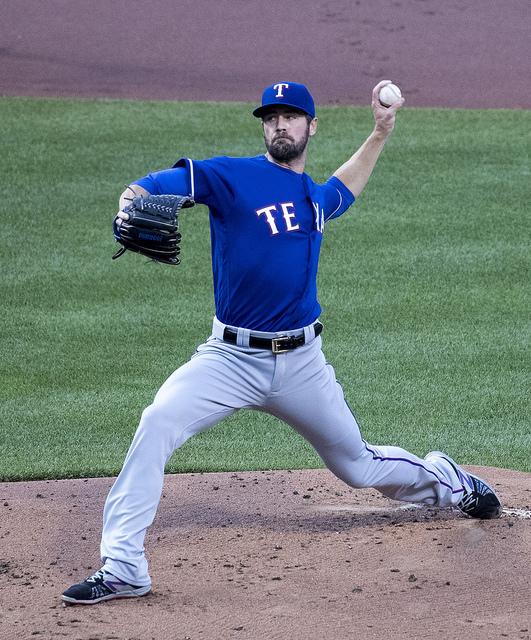 A photo of Texas Rangers pitcher Cole Hamels.