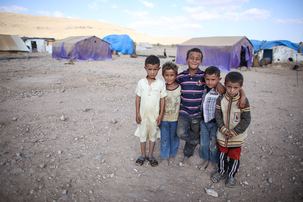 Refugee children at a camp in Syria.