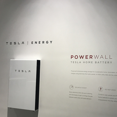 A photo of a Tesla Powerwall battery.