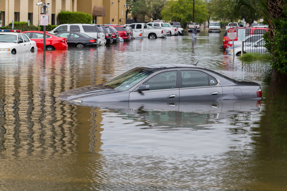 A car submerged in water due to Hurricane Harvey.