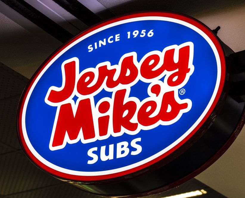 A photo of a Jersey Mike's sign.