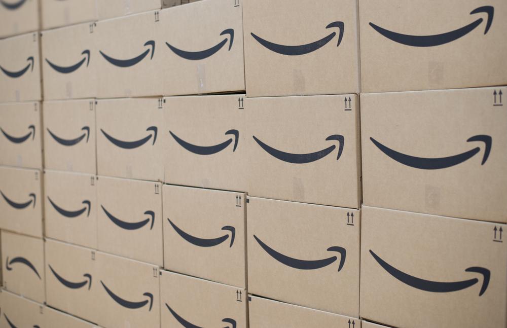 A massive stack of Amazon boxes.